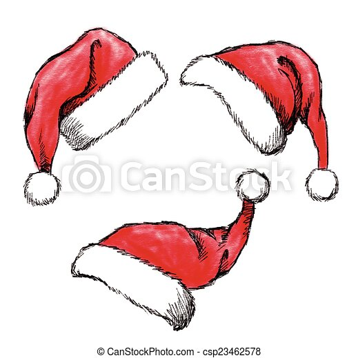 cf4b22a2c17 Set of hand drawn christmas hat on white background .
