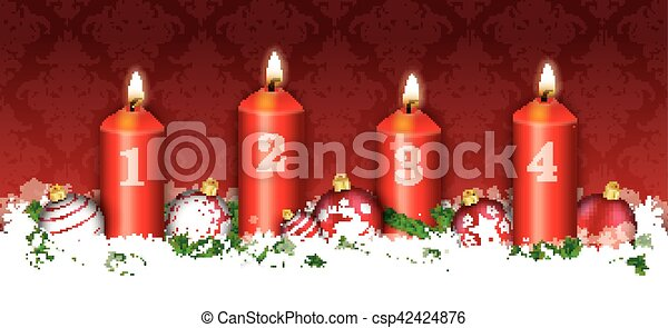 Christmas Header Clipart.Christmas Header Card Red Ornaments 4 Candles