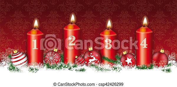 Christmas Header.Christmas Header Card Red Ornaments 4 Candles