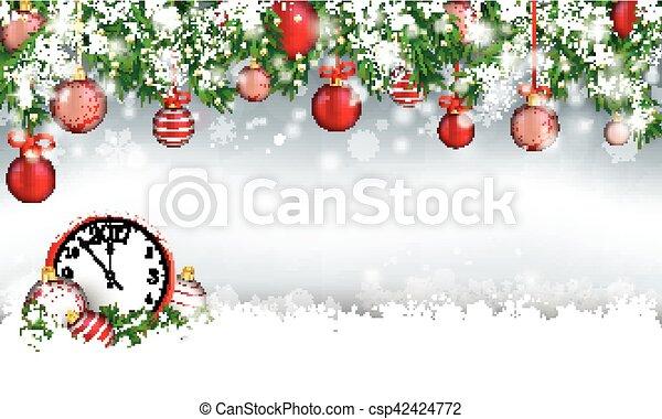 Christmas Header Clipart.Christmas Header Green Twigs Snow Baubles Clock