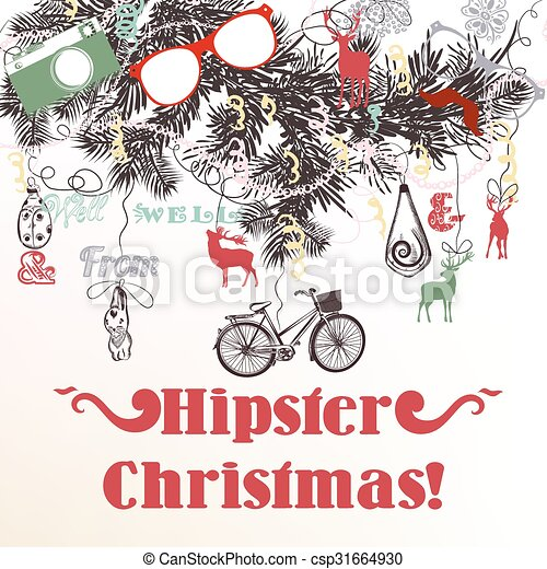Christmas Hipster Background With Xmas Tree Branches Vectors