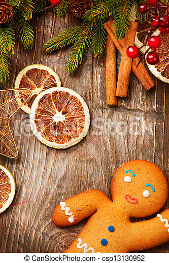 Christmas Holiday Background. Gingerbread Man  - csp13130952