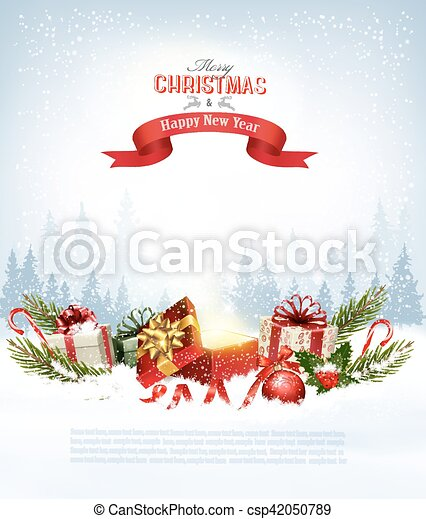 Christmas Holiday Clipart.Christmas Holiday Background With Presents And Magic Box Vector
