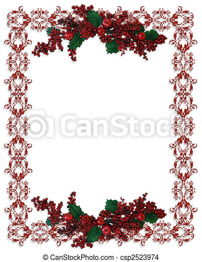 christmas holiday border holly berries csp2523974