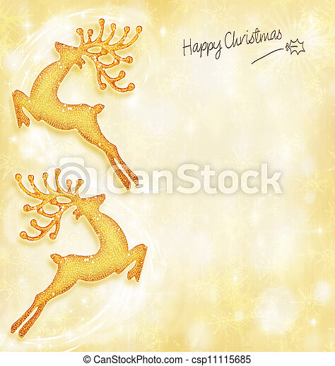 Christmas holiday card, golden background, reindeer decorative border, traditional tree ornament, abstract shiny glowing lights,winter holidays celebration - csp11115685