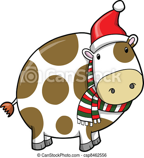 Christmas Cow.Christmas Holiday Cow Vector