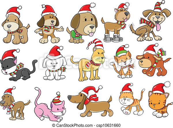 christmas holiday dog and cat set christmas holiday dog and cat pet rh canstockphoto com christmas dog clip art christmas pets clipart