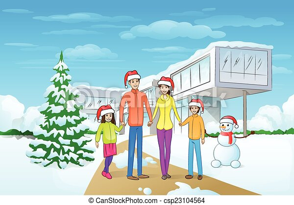 Christmas Holiday Family Modern House Winter Snow