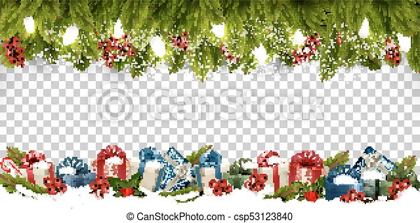 Christmas Transparent Background.Christmas Holiday Frame With Branches Of Tree And Gift Boxes On Transparent Background Vector