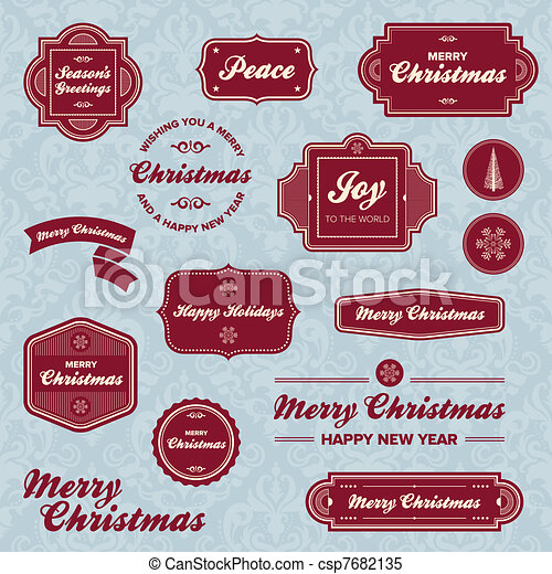 Christmas holiday labels - csp7682135