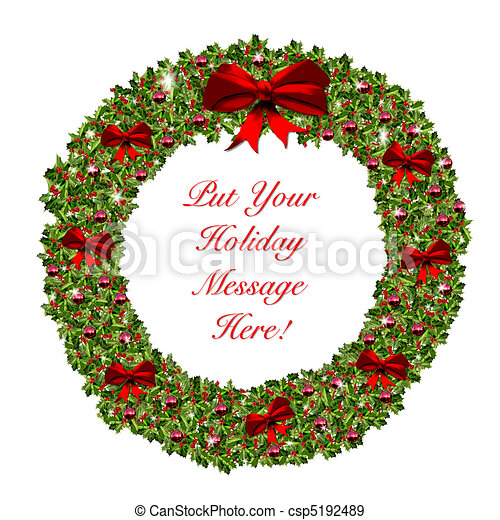 Christmas Holiday Wreath Stationary - csp5192489