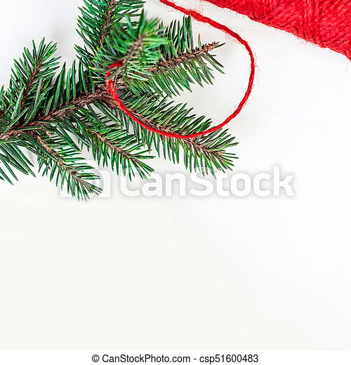 Christmas holidays background with festive decorations and gift boxes on white wooden board with copy space for your text - csp51600483