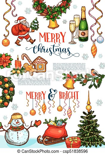 Christmas Celebration Images For Drawing.Christmas Holidays Celebration Poster Template