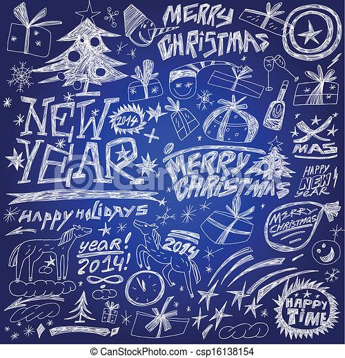 Christmas holidays , New Year - doodles set - csp16138154