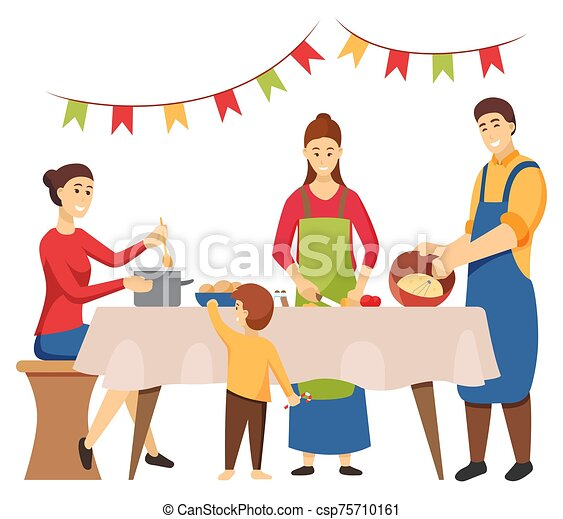 Christmas Holidays Preparation, Family Cooking - csp75710161