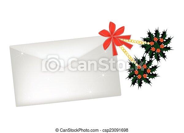 Christmas Holly and Red Bow with A Letter - csp23091698