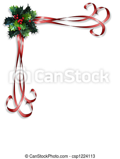 christmas holly and ribbons border image and illustration rh canstockphoto com Christmas Bells Border Clip Art Small Christmas Clip Art Border
