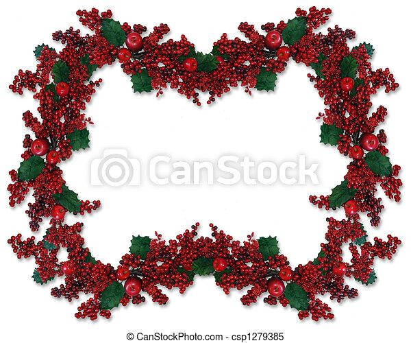 Christmas Holly Berries Border - csp1279385