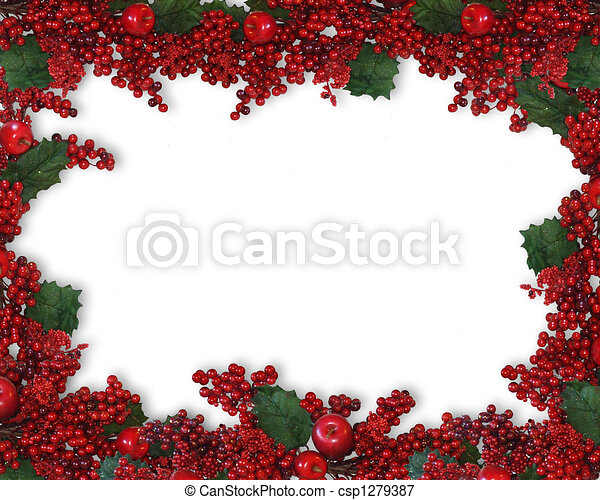Christmas Holly Berries Border - csp1279387
