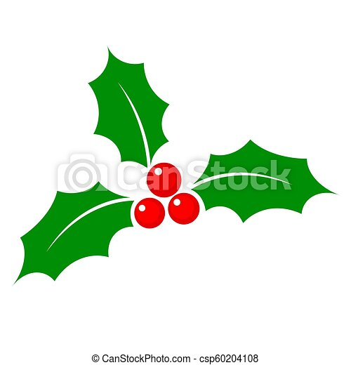 Christmas Holly Cartoon.Christmas Holly Berry Flat Icon In Cartoon Style Onwhite Stock Vector Illustration