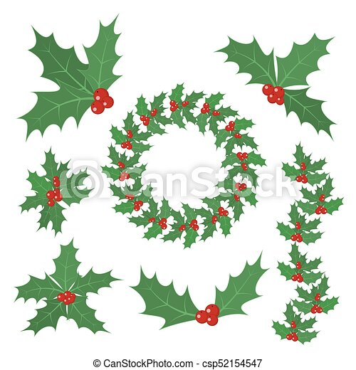 Christmas Leaves.Christmas Holly Berry Leaves Vector Illustration