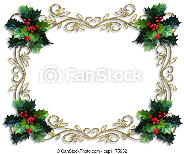 christmas holly border image and illustration composition for rh canstockphoto com Christmas Garland Clip Art Borders Christmas Bells Border Clip Art
