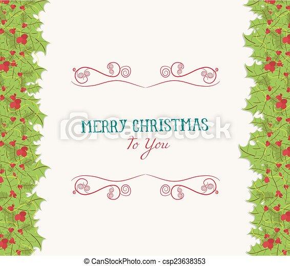 Christmas holly border - csp23638353