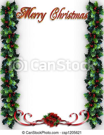 Christmas Holly Border - csp1205621