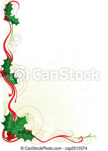 Christmas Holly Border - csp2510374
