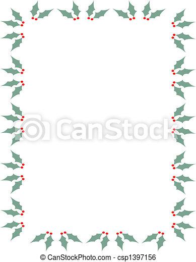 Christmas Holly Border Clipart.Christmas Holly Border Frame