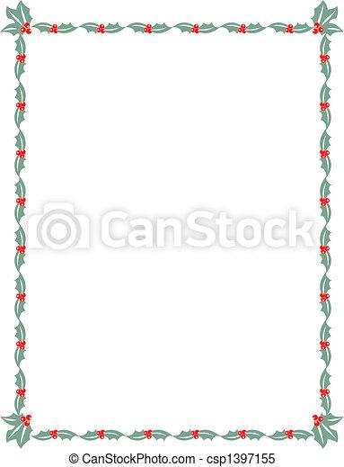 Christmas holly border frame - csp1397155