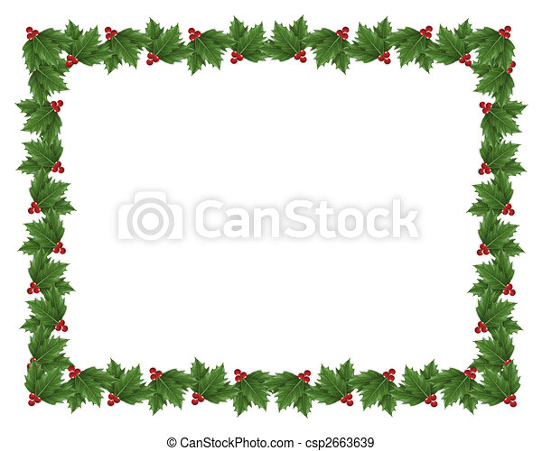 christmas holly border illustration illustration composition rh canstockphoto com Christmas Bells Border Clip Art Christmas Garland Clip Art Borders