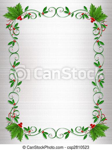Christmas Holly Border ornamental - csp2810523