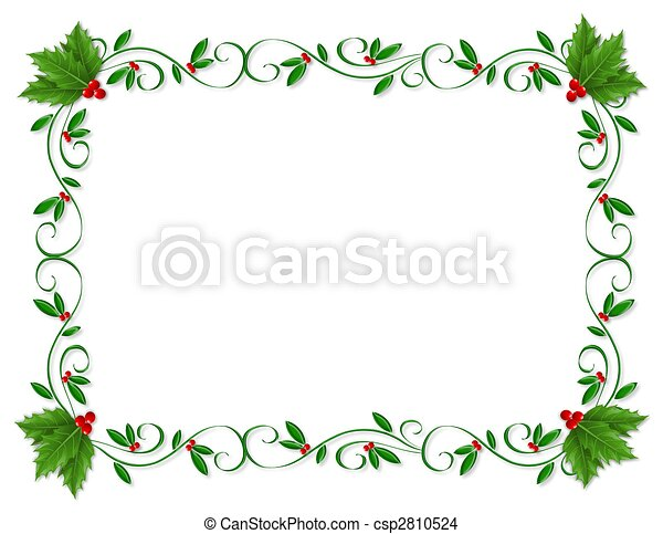 Christmas Holly Border Ornamental On Christmas Design Element For