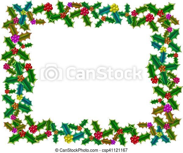 Christmas Holly Border - csp41121167