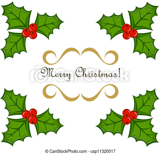 Christmas holly frame - csp11320017