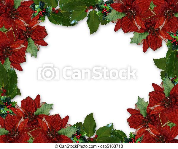 Christmas Holly Poinsettia border - csp5163718