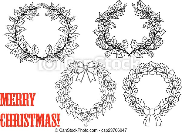 Christmas holly round wreaths - csp23706047