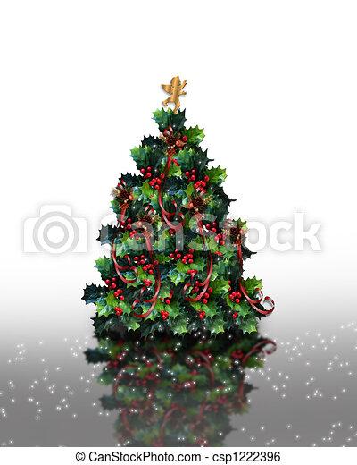 Christmas Holly Tree.Christmas Holly Tree Sparkle