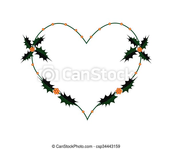 Christmas Holly Twig in A Heart Shape Wreath - csp34443159