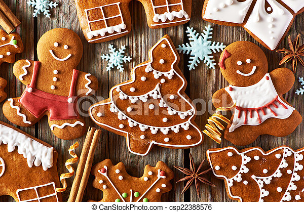 Christmas homemade gingerbread cookies - csp22388576
