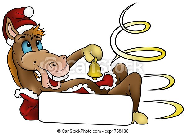 Christmas Horse Cartoon.Christmas Horse