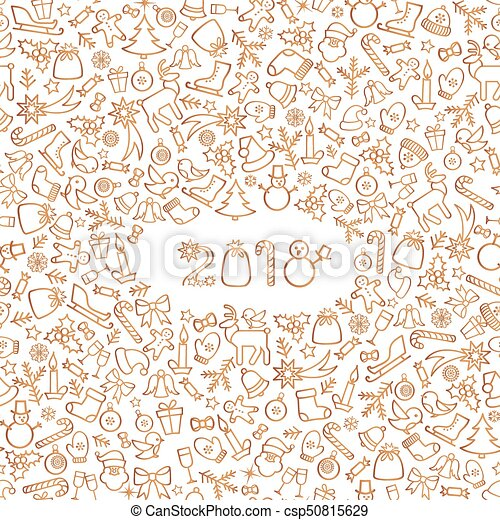 Christmas icon holiday background. happy new 2018 year greeting card ...