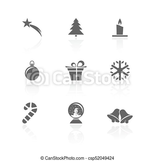 Christmas icon set with reflection on a white background - csp52049424