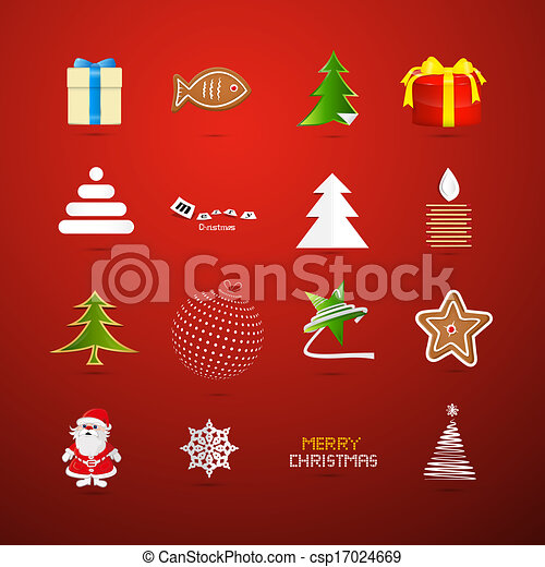Christmas Icons on Red Background - csp17024669
