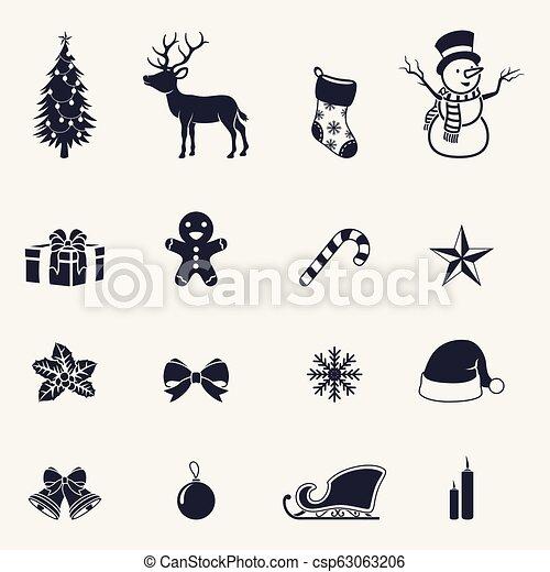 Christmas icons set - csp63063206