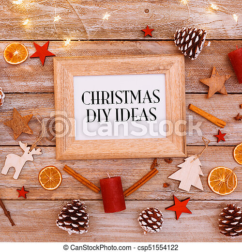 Christmas Chain Text.Christmas Ideas Text In Frame On Christmas Flat Lay