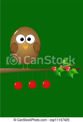 Christmas illustration with bird - csp11147425