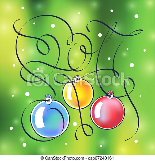 Christmas illustration with lettering in 2017. - csp67240161