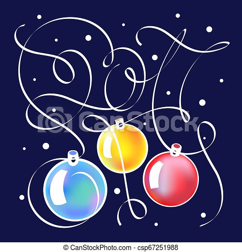 Christmas illustration with lettering in 2017. - csp67251988